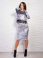 Красивый комплект юбка + кофта из велюра