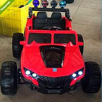 Детский  электромобиль джип кожаное сиденье M 3599EBLR-3 красный ***