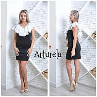Платье с воланом. Черный, фото 1