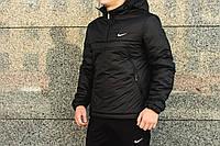Анорак теплый, куртка весенняя, осенняя, демисезонная парка до -3, мужская! Черный