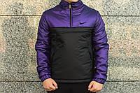 Анорак теплый, куртка весенняя, осенняя, демисезонная парка до -3, мужская! Черный+фиолетовый