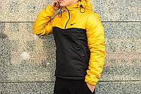 Анорак теплый, куртка весенняя, осенняя, демисезонная парка до -3, мужская! Черный+желтый