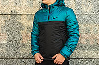 Анорак теплый, куртка весенняя, осенняя, демисезонная парка до -3, мужская! Черный+зеленый