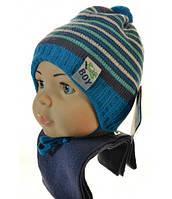 Теплые комплекты шапка+шарф для мальчика Малыш 42/46 р