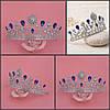 Диадема свадебная Тиара Жасмин синяя корона для волос Виктория тиара синяя диадемы, фото 10