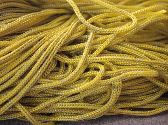 Шнур декоративный круглый желтый с люрексом (100м), фото 2