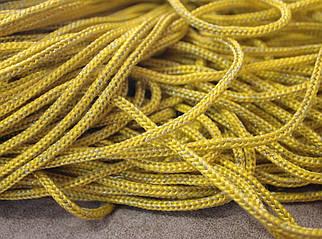 Шнур декоративный круглый желтый с люрексом (100м)