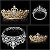Диадема свадебная корона круглая ТЕОНА серебро Тиара Виктория для волос украшения диадемы свадебные, фото 5
