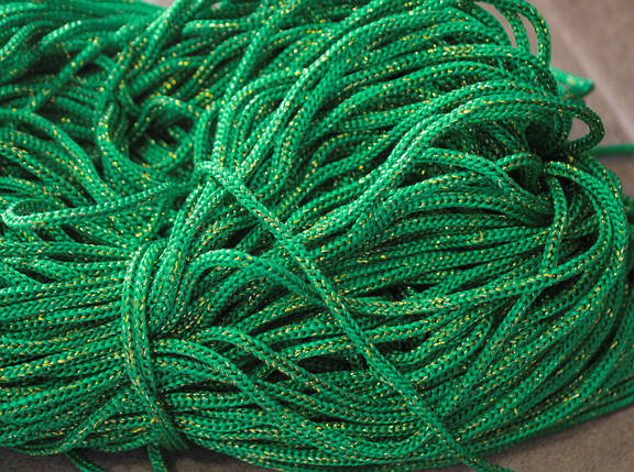 Шнур декоративный круглый зеленый с люрексом (100м), фото 2
