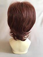 Полунатуральный парик №2 Цвет каштан с яркой краснинкой