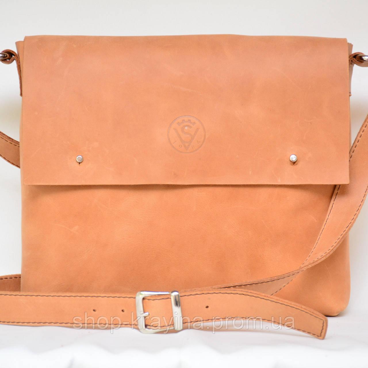 Кожаная сумка VS133  pale orange 26х22х4 см