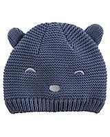 Детская синяя демисезонная вязанная шапка Мишка с ушками Carters Картерс для малышей