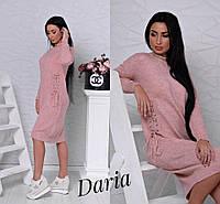 Платье стильное теплое со шнуровкой миди вязка разные цвета SMch1790