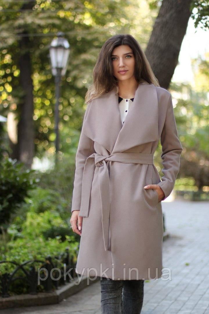 9f51e2e9a20 Бежевое пальто женское осень кашемировое на запах с поясом по колено -