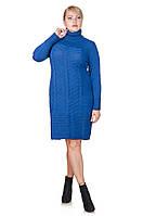 Теплое платье вязка большой размер Nimfa джинс (52-58)