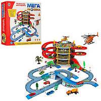 Детская игра Паркинг922-10- 4 этажа, машинки 2шт, вертолет, дорожн.знаки, дерево 4шт, в коробке 47.5*40.5*9