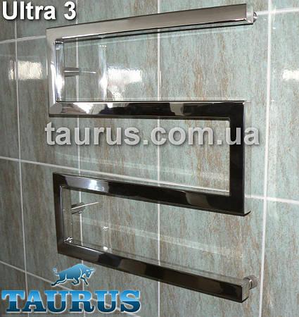 Широкий полотенцесушитель дизайнерский Ultra 3/600 из квадратной нержавеющей трубы 30х30 мм. Украина
