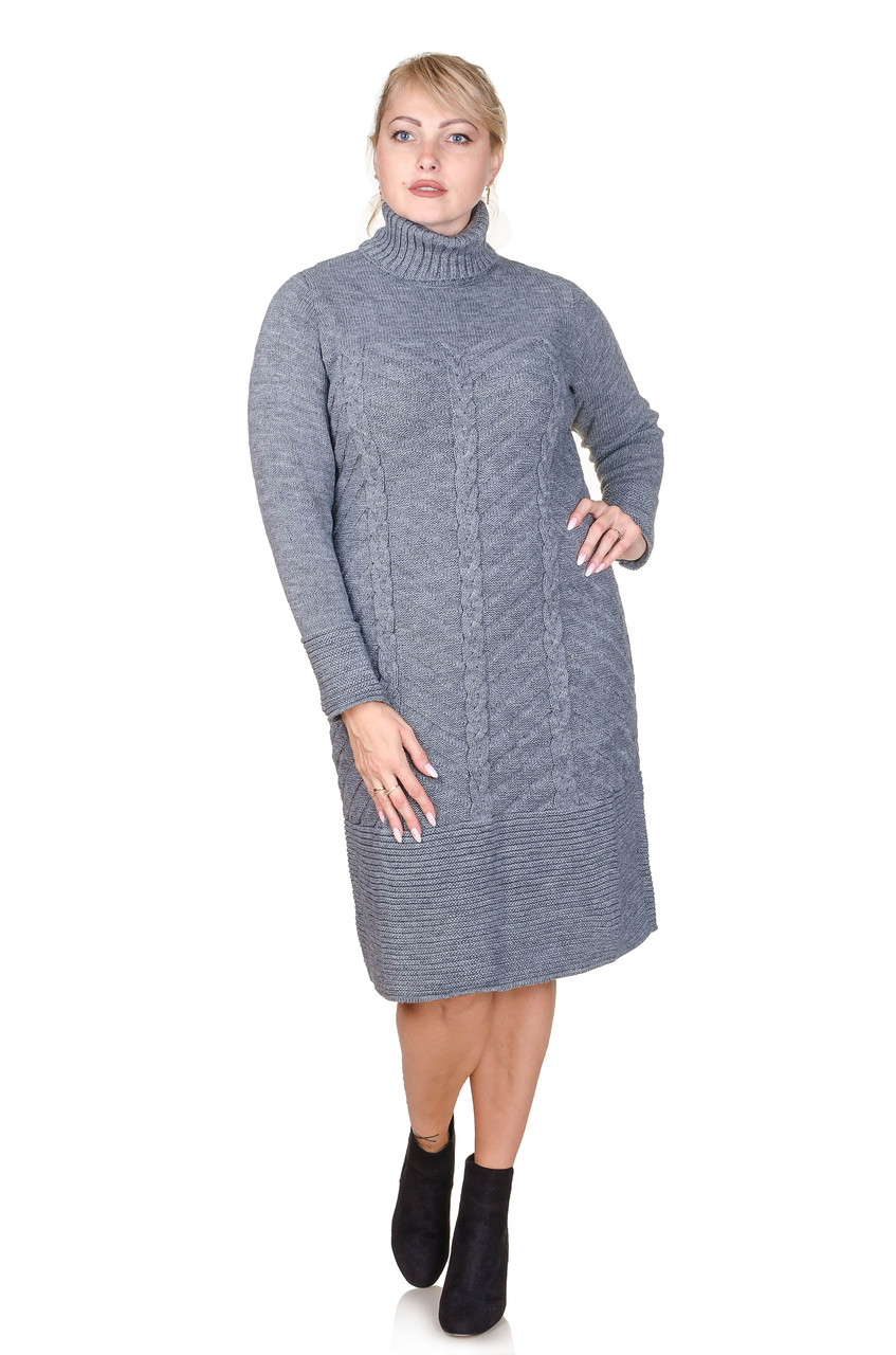 Вязаное платье  Nimfa светло-серый (48-50)