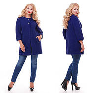 Пальто большого размера цвет Кобальт  (52-58)
