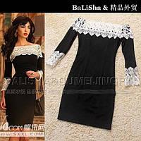 Женское платье черное с белым кружевом Балиша АКЦИЯ