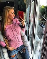Красивый молодежный свитер нежно-розовый