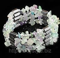 Украшение нашею-браслет из гематита с  флюоритом от Студии  www.LadyStyle.Biz