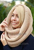 Снуд шарф хомут шерстяной бежевый модный