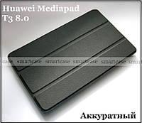 Классический чехол книжка Huawei Mediapad T3 8 KOB-L09, чехол черный эко кожа PU