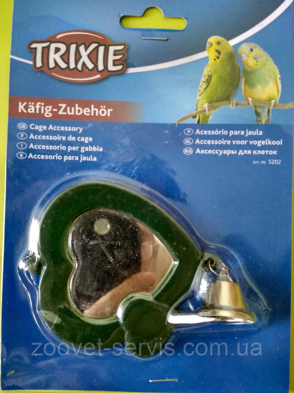 Подвесное зеркало-сердце для попугаев с колокольчиком Trixie