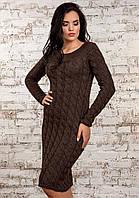 Фактурное вязаное женское платье