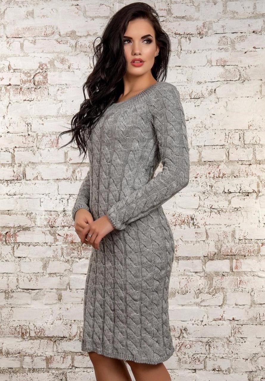 Серое фактурное вязаное платье  продажа 86960ea1ef16f
