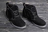 Женские замшевые ботинки на молнии на каблуке чёрные