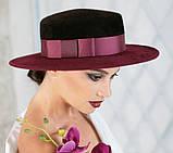 Шляпа из фетра канотье с маленькими полями цвет шоколад-сирень поля 7 см, фото 3