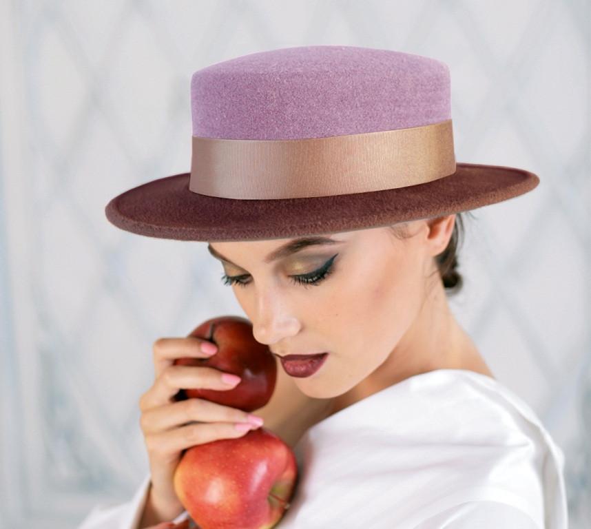 Шляпа из фетра канотье с маленькими полями цвет шоколад-сирень поля 7 см