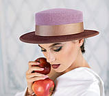 Капелюх з фетру канотьє з маленькими полями колір бордо-шоколад поля 7 см, фото 2