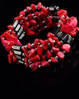 Украшение нашею-браслет из гематита с   кораллом от студии LadyStyle.Biz