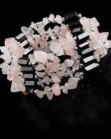 Украшение унисекс на шею-браслет из гематита с розовым кварцем  от Студии  www.LadyStyle.Biz