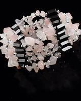 Украшение унисекс на шею-браслет из гематита с розовым кварцем от студии LadyStyle.Biz