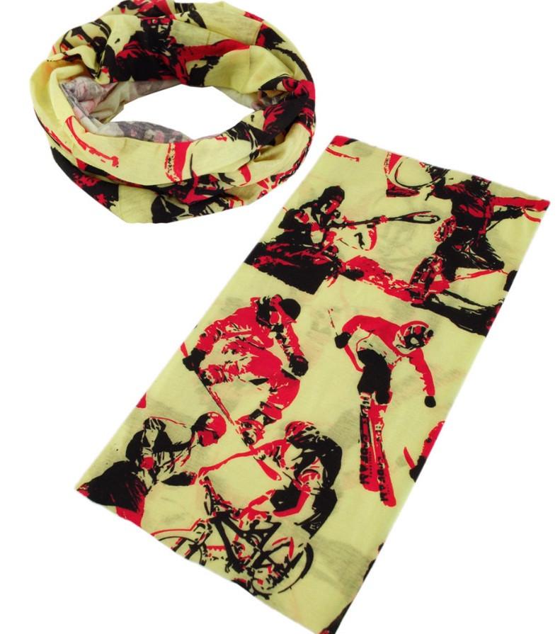 Модний снуд Тгаим 2522-24, колір бежевий з червоним.