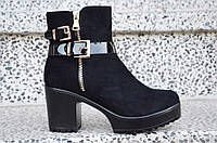 Весенние полусапожки ботинки ботильоны на каблуке, на платформе женские черные 2017