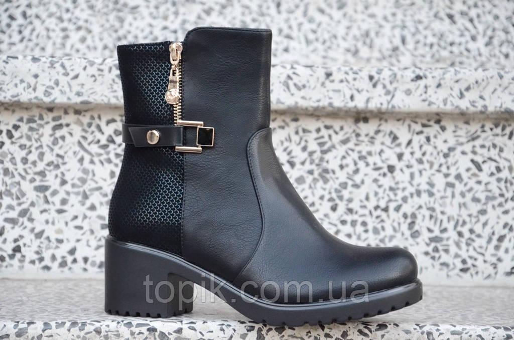 Весенние полусапожки ботинки на широком каблуке, на платформе женские черные (Код: 887)