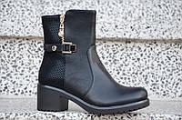 Весенние полусапожки ботинки на широком каблуке, на платформе женские черные (Код: 887), фото 1