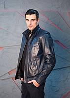 Кожаная куртка мужская в темно-синем цвете, фото 1
