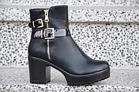Весенние полусапожки ботинки ботильоны на широком каблуке, на платформе женские черные 2017