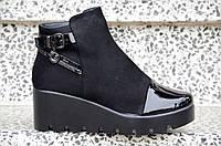 Весенние ботильоны ботинки полусапожки, на танкетке, на платформе женские черные 2017