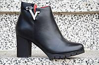 Весенние ботильоны полусапожки на широком каблуке женские черные 2017
