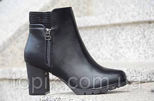 Весенние ботильоны полусапожки женские черные на широком удобном каблуке 2017