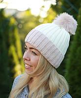 Женская вязаная шапка с помпоном модная