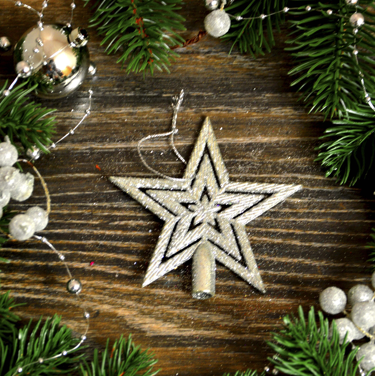 Новогоднее украшение Звезда верх мал  сер  0356