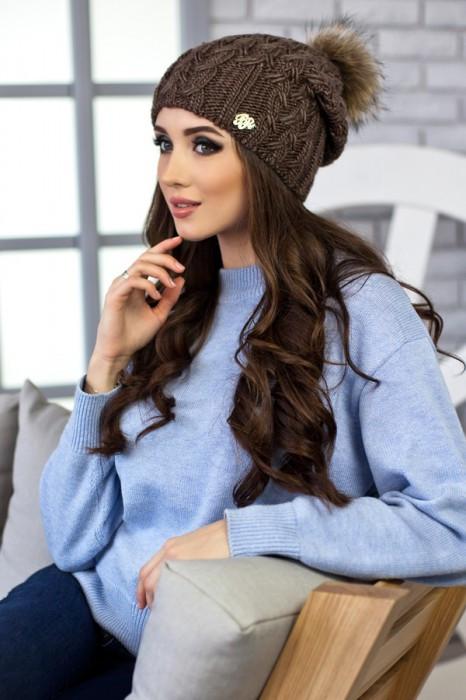 Зимняя женская шапка «Афина» Светло-коричневый